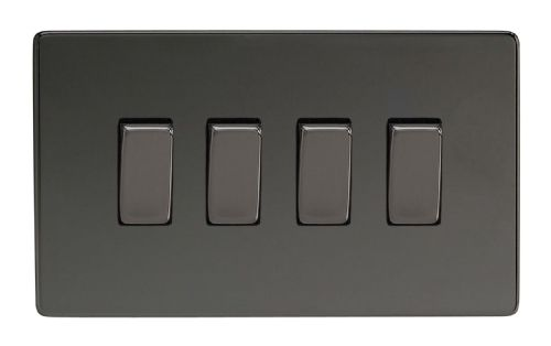 Varilight XDI9S Screwless Iridium Black 4 Gang 10A 1 or 2 Way Rocker Light Switch